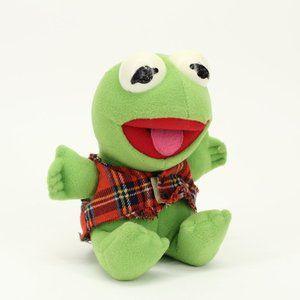 Vintage 1987 Baby Kermit Stuffed Animal Doll